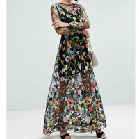 Fashion Women Brand Floral Embroidery Dress O Neck Long Sleeve Casual Party Summer Dress High Waist