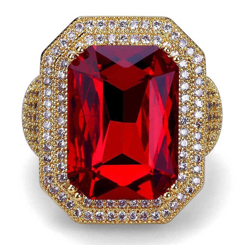 Iced Out Hip Hop Ring Gold Color Cubic Zircon Big Red Stone Ring  Personality Fashion Men 4660cadb7cdd