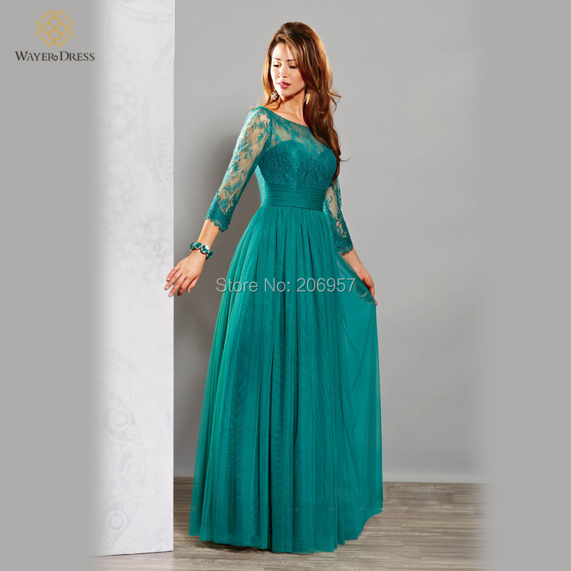 Elegant Emerald Green/Turquoise Long Evening Dresses with ...