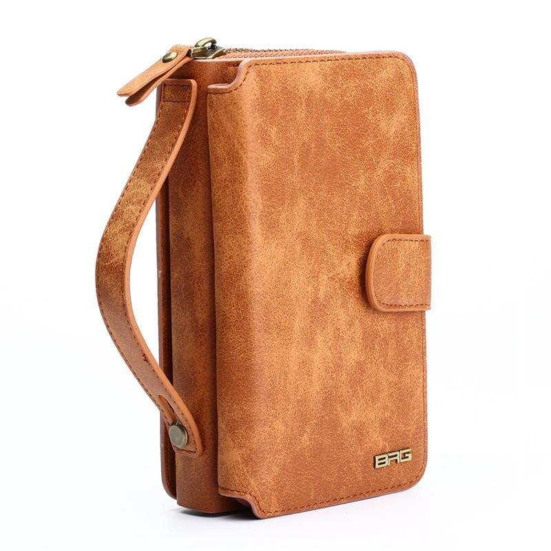 BRG Multifunktions Brieftasche Ledertasche Für Samsung S4 S5 S6 S7 RAND S8 HINWEIS4 NOTE5 Note8 Reißverschluss Geldbörse Beutel Taschen Dame Handtasche