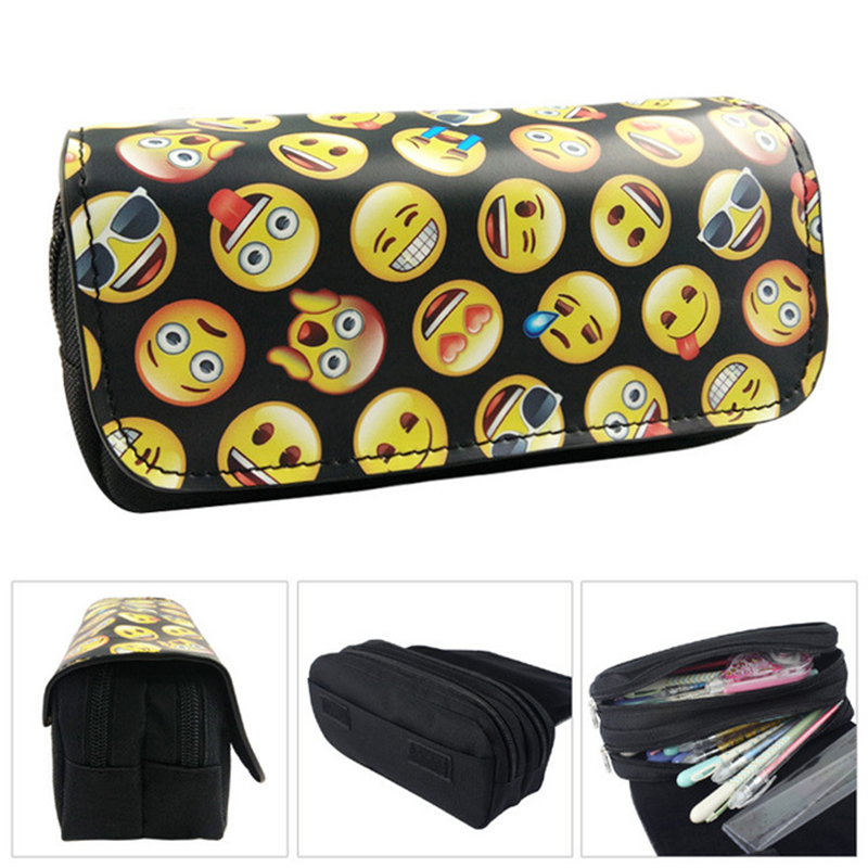 Novelty Emoji pencil case Kawaii large capacity pen bag waterproof Storage pouch Estuche School Supplies Zakka stationery стоимость