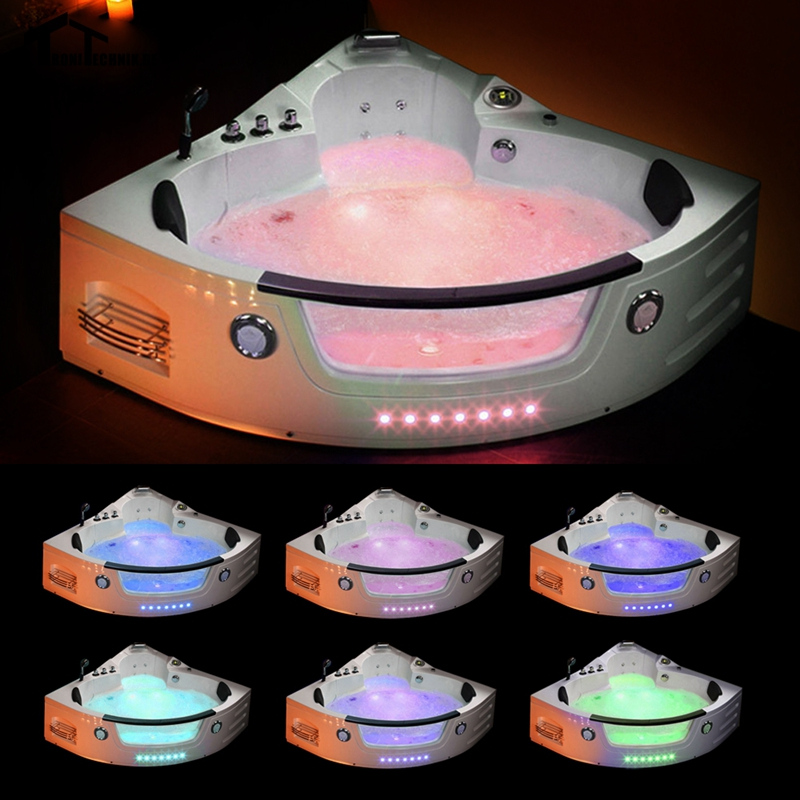 Jacuzzi Triangular.1350mm Whirlpool Bathtub Wall Corner Glass Air Massage
