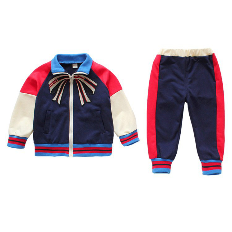 Boy spring new sports two-piece Boy cotton embroidered jacket pants suit Boy splicing zipper baseball two-piece Boy casual suit