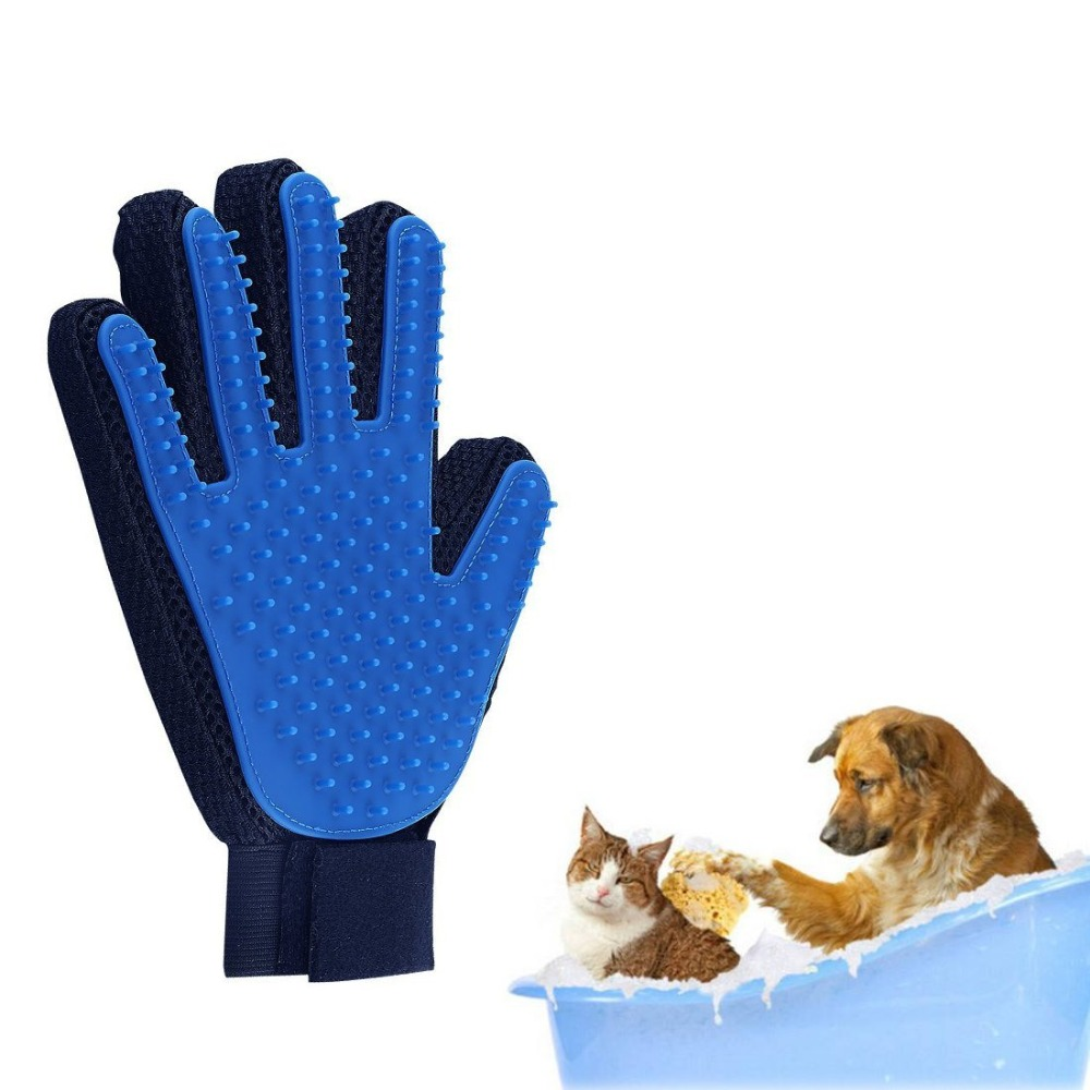 Nicrew Pet Glove Cat Grooming Deshedding Brush Gloves For Cats Dog Animal Back Massage Fur Washing Bathing Glove Comb For Animal