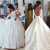 2019 Backless Wedding Dresses Bll Gown Vintage Scoop Long Sleeves Satin Bridal Gown Open Back Simple Design Bride Reception Wear