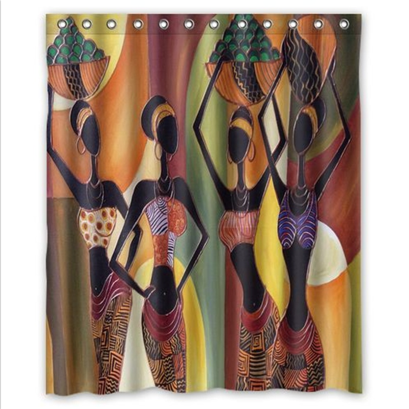 180X150cm Cartoon African Woman Art Waterproof Bathroom Shower Curtain New Design Tub Decor With 12 Hooks In Curtains From Home
