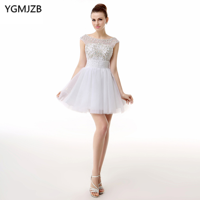 8f46253f629 Little White Dress Cocktail Dresses 2018 A Line Cap Sleeves Bling Beaded  Crystal Tulle Party Dress Backless Homecoming Dress