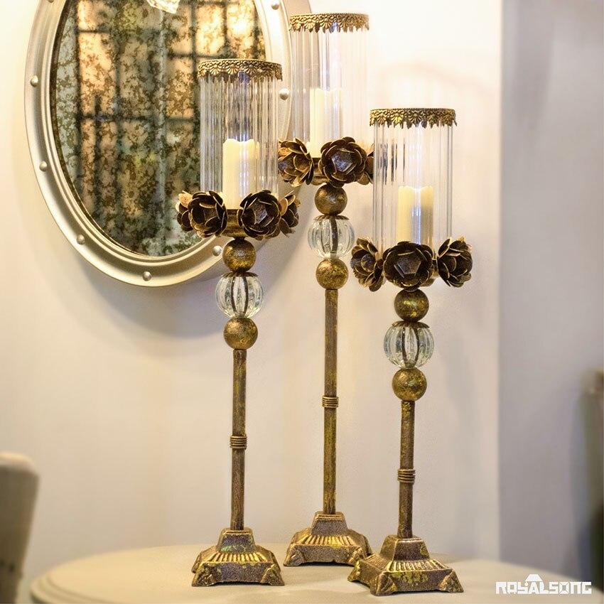 European style Luxury glass metal candlestick home wedding decor candle holders porta velas decorativas candelabra centerpieces