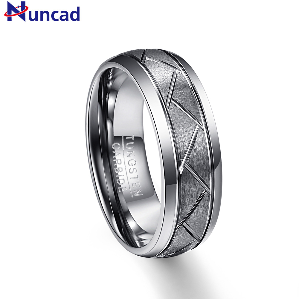 Nuncad 8MM wide 2.3MM thick silver gray matte surface diagonal groove tire tread tungsten steel ring