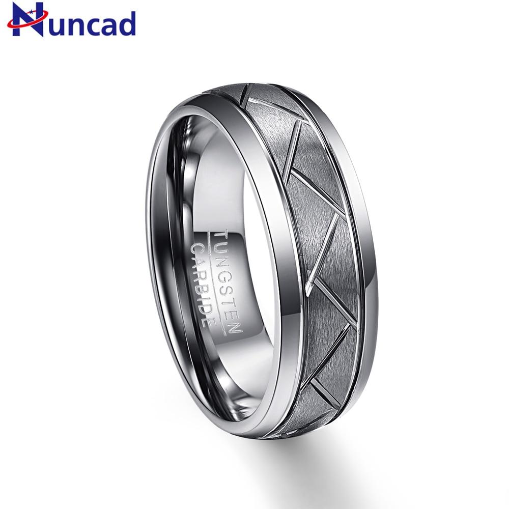 Nuncad 8mm large 2.3mm épais argent gris mat surface diagonale rainure pneu bande de roulement en acier de tungstène anneau