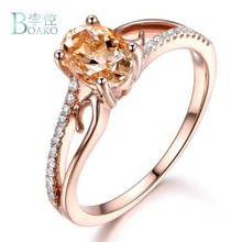 BOAKO Luxury Rose Gold Rings For Women Engagement Ring Women Citrine Stone Jewelry Oval Zircon Wedding Rings anillos mujer(China)