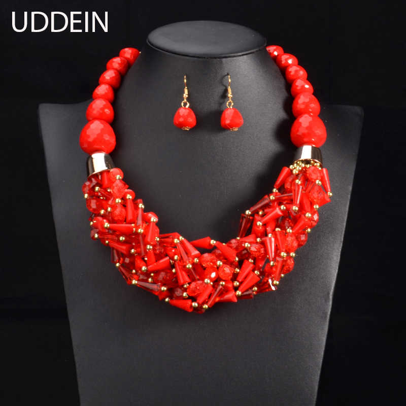 UDDEIN African Beads Jewelry Sets Statement necklace & pendant bib beads handmade jewelry Nigerian Wedding Indian necklace sets