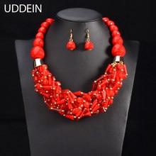 a8b0458f4ca8 Conjunto de joyería de cuentas africanas UDDEIN collar de declaración y  colgante babero joyería hecha a mano conjunto de collar .