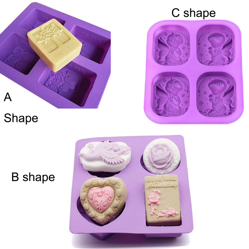 DIY Silicone Soap Mold Making 3D 4 Forms Angel Tree Oval Rectangle Soap Mould Handmade Craft Flowers Bathroom Kitchen Soap MoldDIY Silicone Soap Mold Making 3D 4 Forms Angel Tree Oval Rectangle Soap Mould Handmade Craft Flowers Bathroom Kitchen Soap Mold