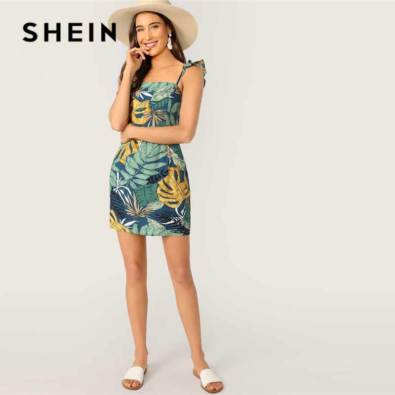 SHEIN Boho plaża krawat powrót tropikalnych druku wzburzyć pasek Mini sukienka kobiety letnie wakacje bez rękawów Slim Backless seksowna sukienka