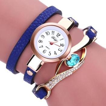 Splendid Fashion Sports Watch Women Diamond Wrap Around Blue Leatheroid Quartz Wrist Watch Famous Clock Male image
