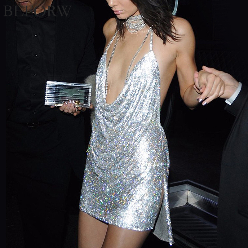 Womens Sexy Dresses Party Night Club Dress Metal Diamond Chain Sling Clothing Gold Silver Super Sexy Dress