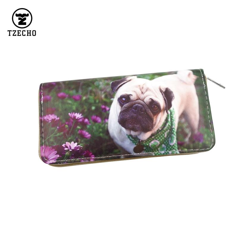 TZECHO Zipper Around Womens Wallets Leather Print Cartoon Dog Long Ladies Organizer Purses Femal Clutch Bag Credit Card Holder