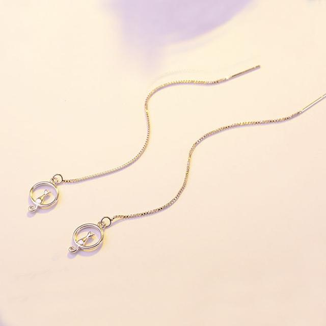 Cat on the Moon Drop Earrings