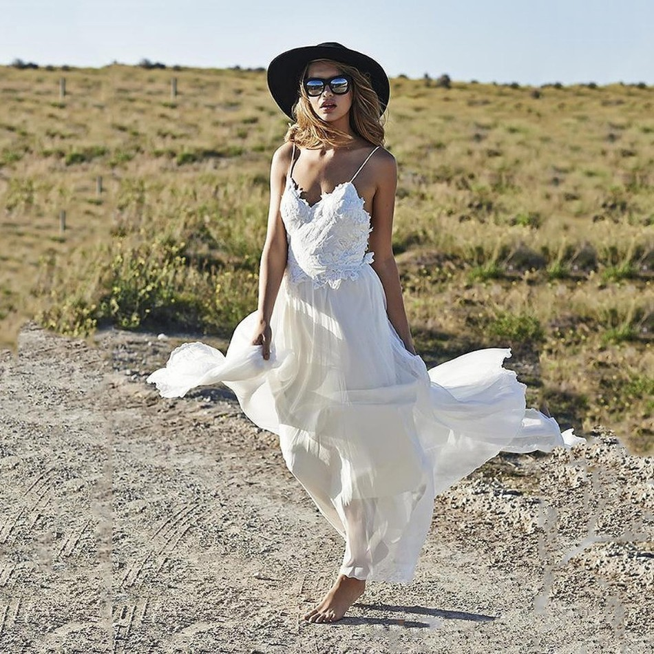 Vestido novia hippie playa