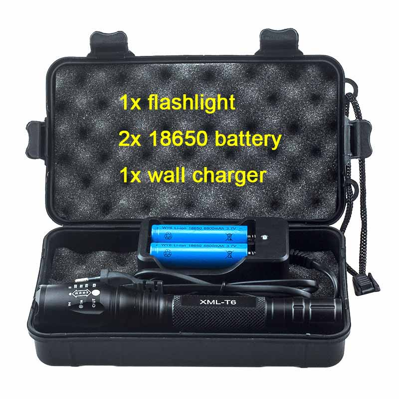 5000LM Cree xml T6 Kit Hand Lamp 5 Mode Tactical Zoomable Led Flashlight Rechargeable 18650 Battery Powerful Flash Light Torch cree xml t6 led flashlight zoomable 5 mode waterproof torch tactical light lamp linterna 4000lm for rechargeable18650 battery