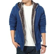 Thickened Add Wool Cardigan Men Zipper Hooded Keep Warm Men Sweater Winter Knitted Jacket Coat Casual Mens Outerwear Coats
