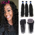 Brazilian Deep Wave With Closure Hair Extensions 3 Bundles With Closure Cheap 8A Unprocessed Virgin Brazilian Hair With Closure