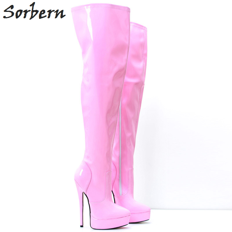 Sorbern Pink Long Women Boots Ladies Party Boots Large Size 46 Unisex 18CM High Heels Pole