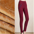 Women Pencil Pants For Winter Warm Fleeces Inside Trousers Solid With Pockets Female Casual Boots Pants P8139