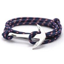 Fashion Jewelry Multilayer Risers Silver Alloy Anchor Bracelet Men Leather Bracelet for Women&Men friendship bracelets