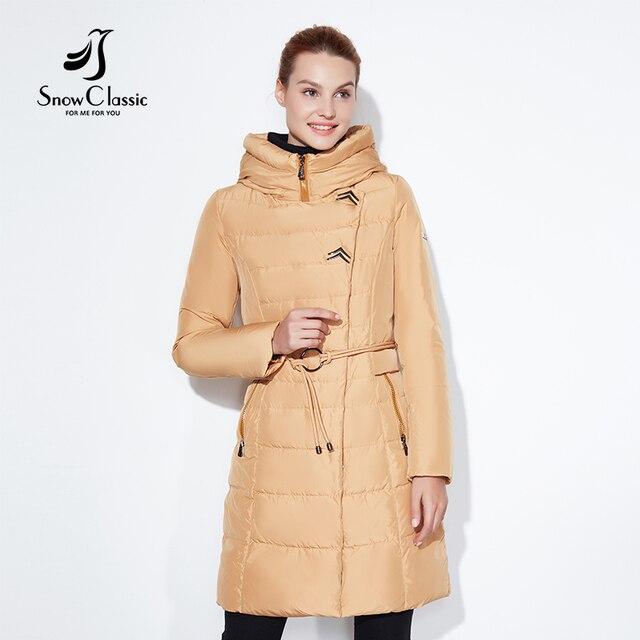 SnowClassic 2017 Модные женские зимняя куртка толстый длинное пальто куртки капюшон регулируемый пояс, теплая обувь с хлопчатобумажными стельками