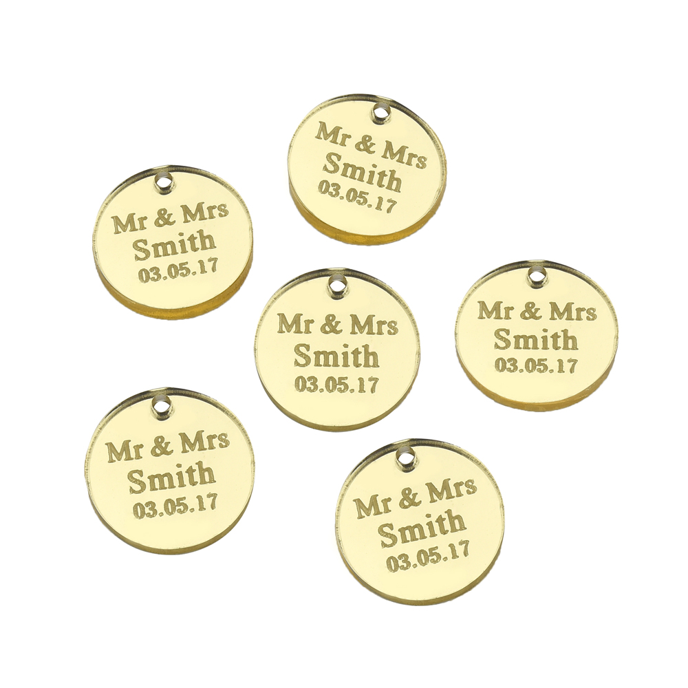 100 Pcs Personalized Engraved Wedding Circle Table Centerpieces Tag Tags Bottle Decors Baby Shower Christening Decors