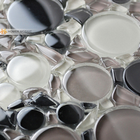 Black Mixed White Round Glass Mosaic Tiles Bathroom Wall And Floor Tiles Free Shipping
