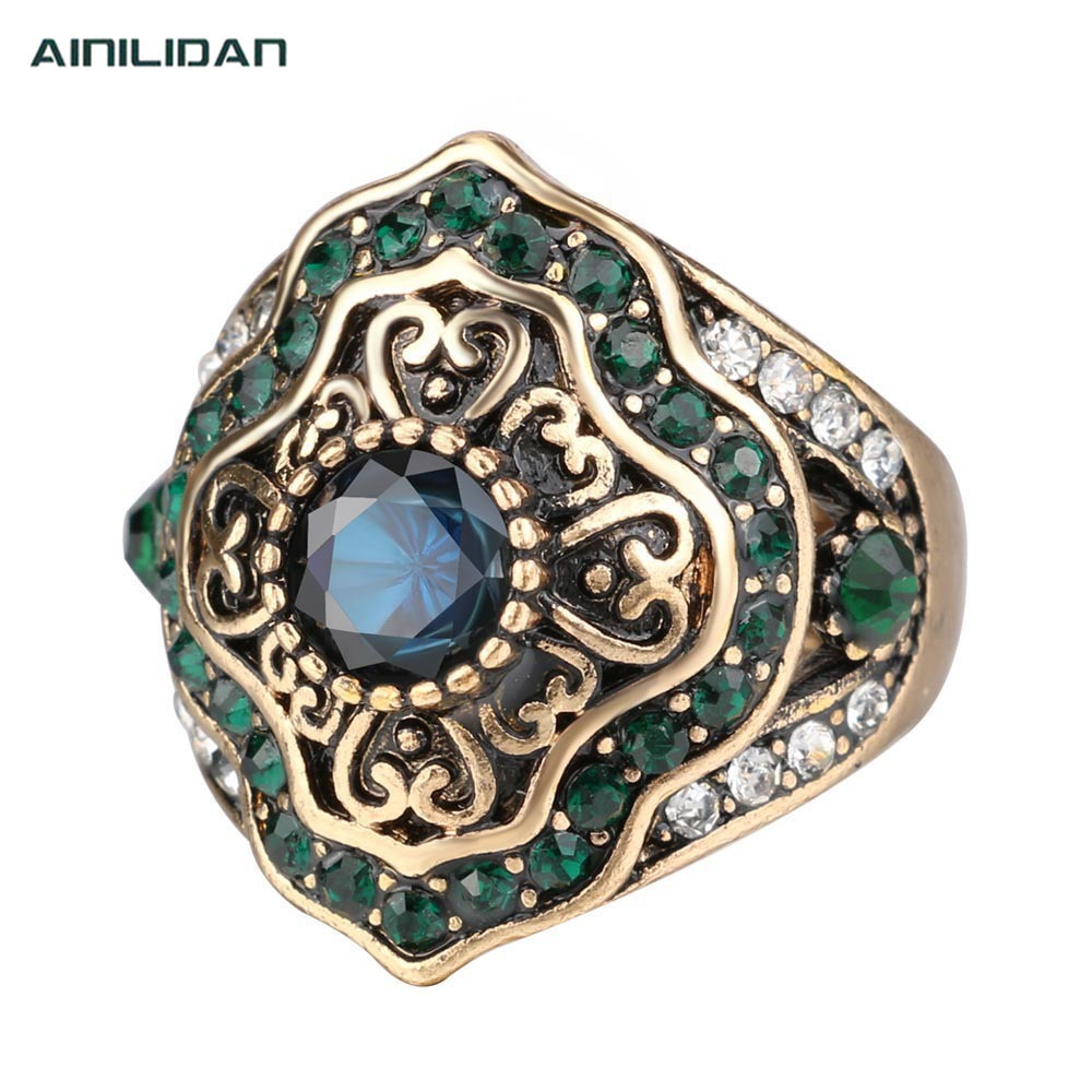 European Restore Ancient Style Jewelry Male Ring Antique Gold Alloy Green Crystal Mens Rings Unisex Accessories For Men Women