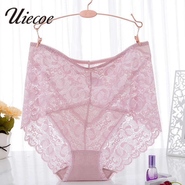 7b19fde3fd2 UIECOE Women s Lace Brief Panty Plus Size High Waist Invisible Underwear  Super Elastic Breathable Stretch Panties