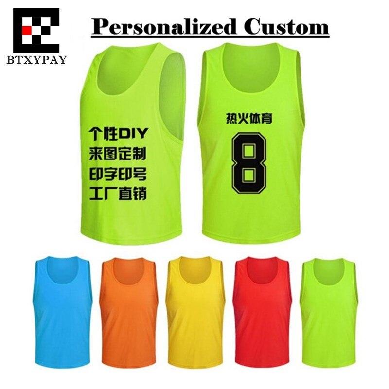 Gepersonaliseerde Custom Logo & Naam & Nummer Pro Soccer Game Training Team Vest, Volwassen Mannen & Kinderen Jongen Voetbal Sport Mesh Jersey Betrouwbare Prestaties