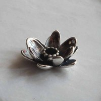 Solid 925 Sterling Silver Giant Lotus Pendant Charms Fit European 3mm Necklace Jewelry Only Pendant Not