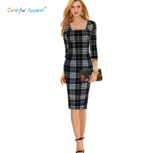 CA women's Elegant Tartan Square Neck Tunic Wear To Work Business Casual Party Stretch Sheath Dress CA238A