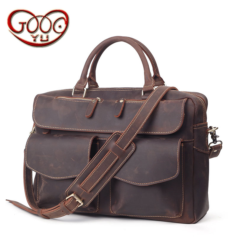 Imported first-tier leather men's large-capacity laptop bag business cross-section crazy horse leather shoulder diagonal package new 2016 men s shoulder bag man bag portable diagonal cross section korean version of casual travel bag crazy horse