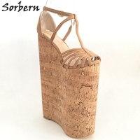 מעצבי נשים נעלי יוקרה עקבים גבוהים קיצוניות Sorbern מותאם אישית פלטפורמת טריזי סנדלי קיץ לנשים גודל גדול 33-46