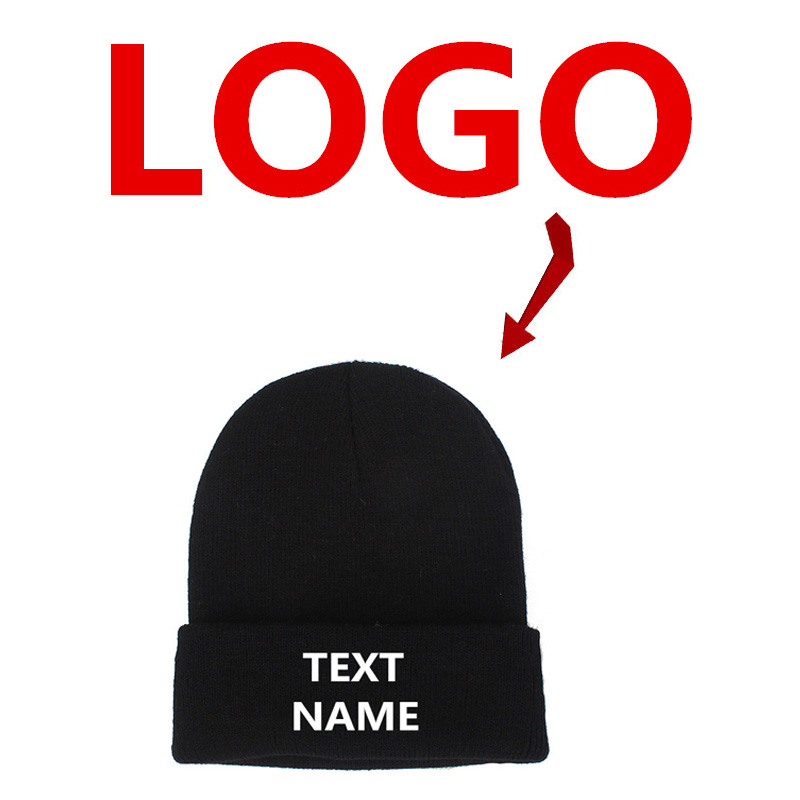 Warm Cap Hats Knit Beanie Embroidered-Your-Own-Logo Printing Customized Unisex Fashion