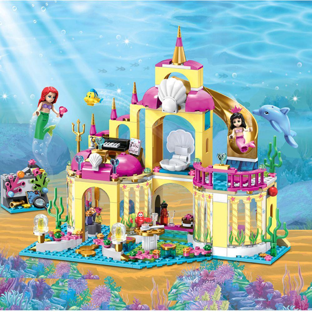 10436 Принцесса Подводный Дворец Модель Строительство Комплекты мини Блоки Кирпичи Девушка Игрушка в Подарок