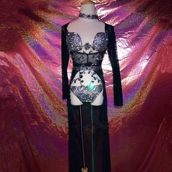 Black Sparkly Crystals Bodysuit Skirt Outfit Bright Bling Rhinestones Costume Female Singer Stage Wear Set Birthday Dresses DJ