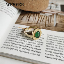 WFSVER 925 sterling silver jewelry ring gold color Korean style fashion green crystal rings opening adjustable fine