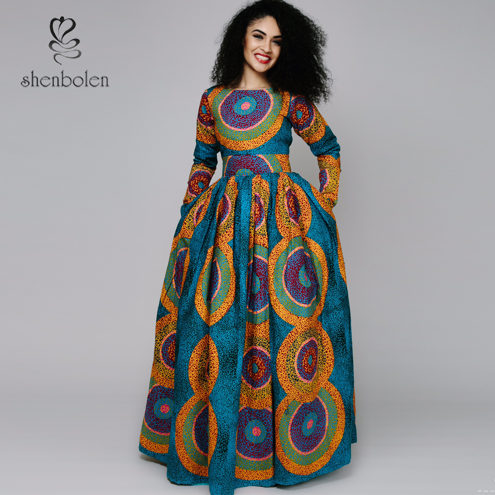 2017 Spring New Africa Clothing Elegant Round Collar Traditioncal Print Long Dress Women Long