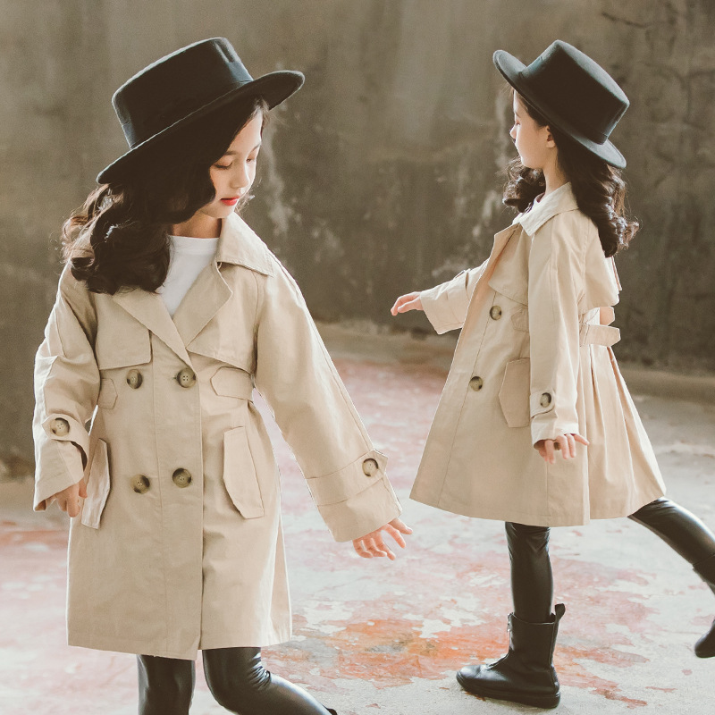 Spring Girls Coat Double-breasted Girls Jacket Sashes Kids Outwear Long Elegant   Trench   For Child Autumn Girls Clothing Jacket