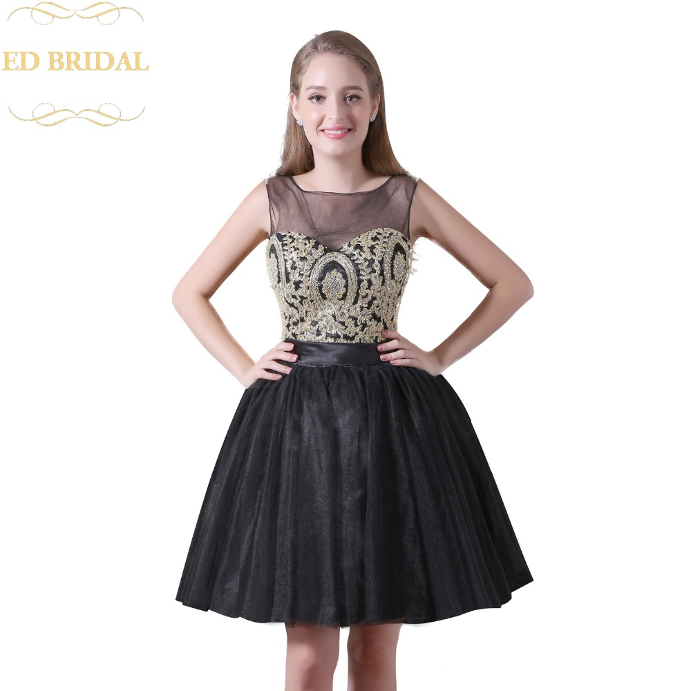 Illusion Neckline Lace Gold Lace Black Tulle Short Prom Dress ...