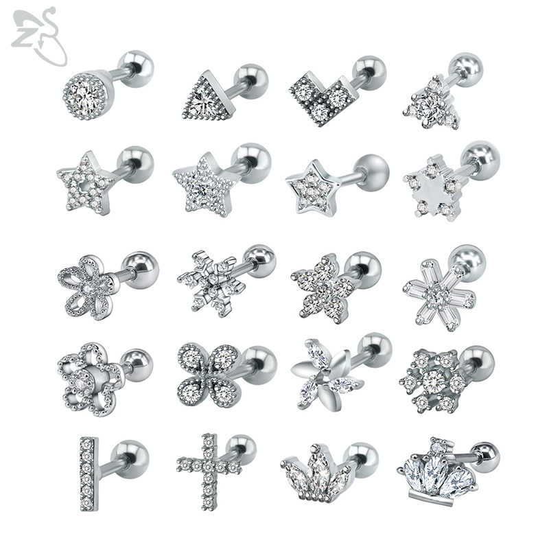 ZS 2piecs/lot 316L Stainless Steel Earrings for Women Crown Crystal Stud Earrings Cute Star Stud Earrings boucle d'oreille femme