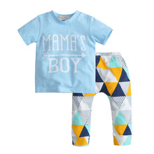 d4c0a988 2018 New Summer Infant Clothing Set Newborn Baby Boy Clothes Short Sleeve  Letter MAMA'S BOY T-shirt+Pants 2 Pcs Casual Outfits