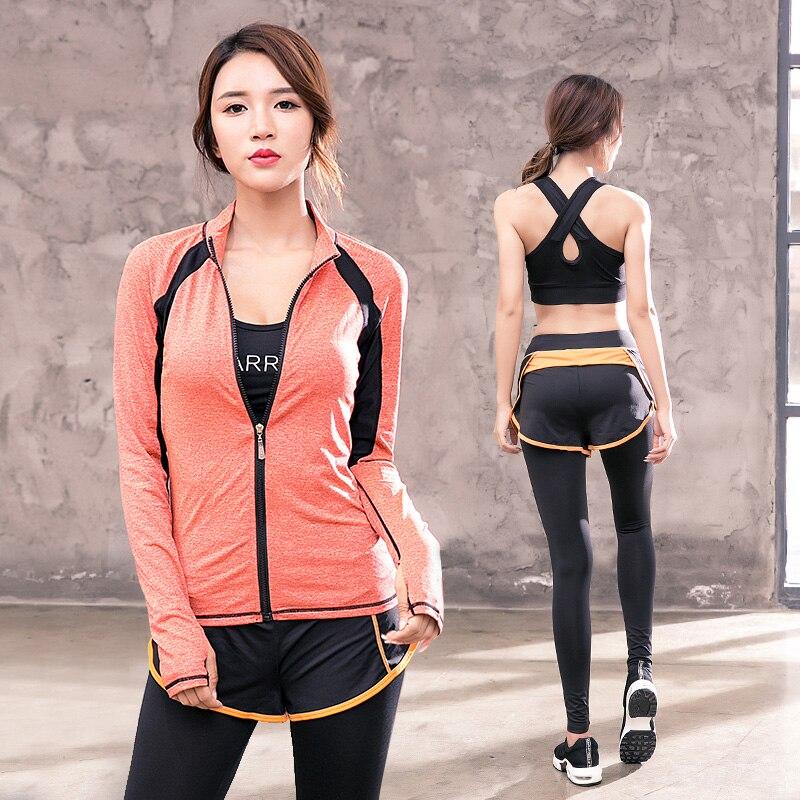 Creative 2018 nouveau femmes Yoga Sport costume soutien-gorge ensemble 3 pièce femme à manches courtes été Sportswear course Fitness formation vêtements